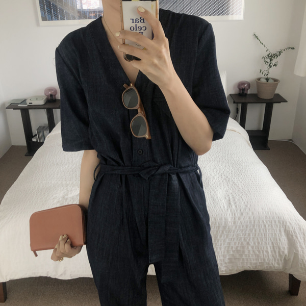 studio denim jumpsuit ( 생지 )