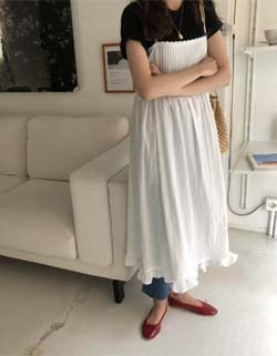 pictuck slip dress ( 아이보리 )