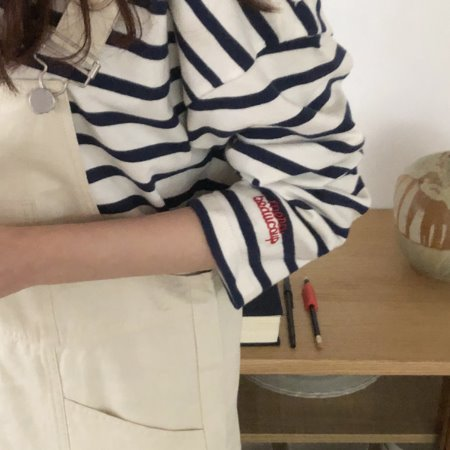(made byme) merci stripe button T ( regular fit )